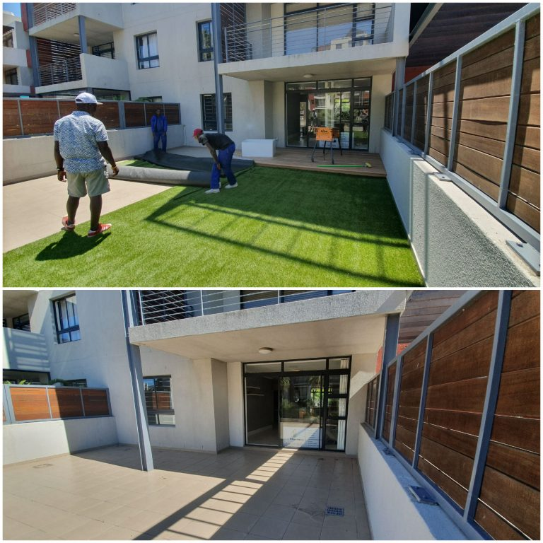 artificial Grass laid over tiled stoep